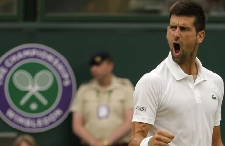 Serbia's Novak Djokovic celebrates winning a point as he plays against Adrian Mannarino of France during their Men's Singles Match on day eight at the Wimbledon Tennis Championships in London Tuesday, July 11, 2017. (AP Photo/Alastair Grant)