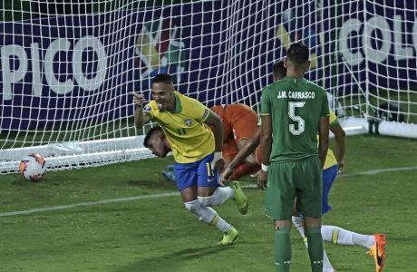 Ο Άντονι πανηγυρίζει, αφότου έχει σκοράρει -στο ματς με τη Βολιβία, για τα προκριματικά των Ολυμπιακών Αγώνων U23- στις 28 του Γενάρη.