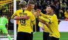 Ο Έρλινγκ Χάαλαντ (κέντρο), ο Γιούλιαν Μπραντ (αριστερά) και ο Τζέιντον Σάντσο (δεξιά) της Ντόρτμουντ πανηγυρίζουν γκολ κόντρα στην Ουνιόν για τη Bundesliga 2019-2020 στο 'Βεστφάλεν', Ντόρτμουντ, Σάββατο 1 Φεβρουαρίου 2020