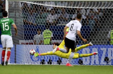 Germany's Leon Goretzka scores during the Confederations Cup, semifinal soccer match between Germany and Mexico, at the Fisht Stadium in Sochi, Russia, Thursday, June 29, 2017. (AP Photo/Martin Meissner)