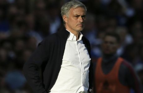FILE - In this Saturday, May 19, 2018 file photo, Manchester United manager Jose Mourinho stands on the sideline during the English FA Cup final soccer match between Chelsea and Manchester United at Wembley stadium in London.  Mourinho has described himself as one of the greatest managers in the world and used a phrase from a German philosopher to remind critics of his past successes, it was reported on Friday, Aug. 31, 2018. (AP Photo/Tim Ireland, File)