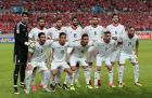 In this photo taken on Thursday, Aug. 31, 2017, Iran's team players, back row from left, Alireza Beiranvand, Ramin Rezaeian, Alireza Jahanbakhsh, Mohammad Ansari, Morteza Pouraliganji, Saeid Ezatolahi and front row from left, Ehsan Hajsafi, Vahid Amiri, Reza Ghoochannejhad, Milad Mohammadi, Ashkan Dejagah pose for the team photo before the 2018 Russia World Cup Group A qualifying soccer match against South Korea at Seoul World Cup Stadium in Seoul, South Korea. (AP Photo/Lee Jin-man)