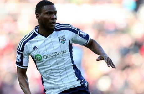 West Bromwich Albion's Brown Ideye during their English Premier League soccer match between Sunderland and West Bromwich Albion at the Stadium of Light, Sunderland, England, Saturday, Feb. 21, 2015. (AP Photo/Scott Heppell)