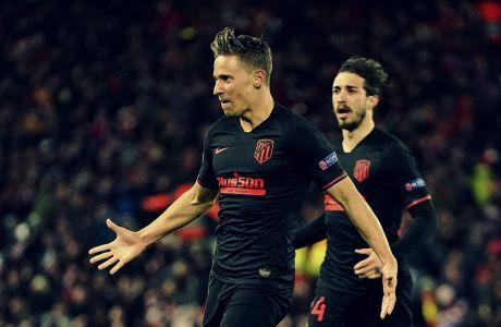 Ο Μάρκος Γιορέντε της Ατλέτικο πανηγυρίζει γκολ που σημείωσε κόντρα στη Λίβερπουλ στον 2ο αγώνα της φάσης των 16 του Champions League 2019-2020 στο 'Άνφιλντ', Λίβερπουλ, Τετάρτη 11 Μαρτίου 2020