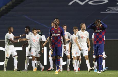 Οι παίκτες της Μπάγερν πανηγυρίζουν γκολ κόντρα στην Μπαρτσελόνα για τα προημιτελικά του Champions League 2019-2020 στο 'Λουζ', Λισαβόνα | Παρασκευή 14 Αυγούστου 2020