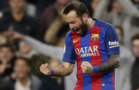 Ο Αλέις Βιδάλ πανηγυρίζει ένα τέρμα που πέτυχε για λογαριασμό της Μπαρτσελόνα κόντρα στην Λας Πάλμας, σε αναμέτρηση για την La Liga στο 'Camp Nou' της Βαρκελώνης (14/01/2017) - AP Photo/Manu Fernandez