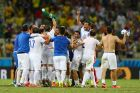 FORTALEZA, BRAZIL - JUNE 24:  Greece celebrate after defeating the Ivory Coast 2-1 during the 2014 FIFA World Cup Brazil Group C match between Greece and the Ivory Coast at Castelao on June 24, 2014 in Fortaleza, Brazil.  (Photo by Michael Steele/Getty Images)