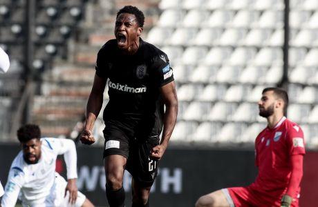 Ο Αμπντούλ Ραχμάν Μπαμπά του ΠΑΟΚ πανηγυρίζει γκολ που σημείωσε κόντρα στη Λαμία για τη Super League Interwetten 2020-2021 στο γήπεδο της Τούμπας | Κυριακή 21 Φεβρουαρίου 2021