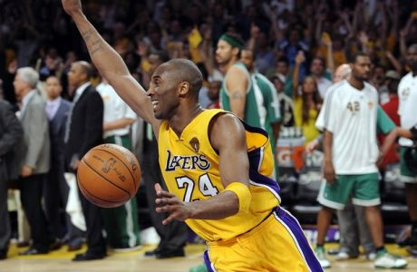 Los Angeles Lakers guard Kobe Bryant reacts astime runs out  of Game 7 of the NBA basketball finals against the Boston Celtics Thursday, June 17, 2010, in Los Angeles. The Lakers won 83-79. (AP Photo/Mark J. Terrill)