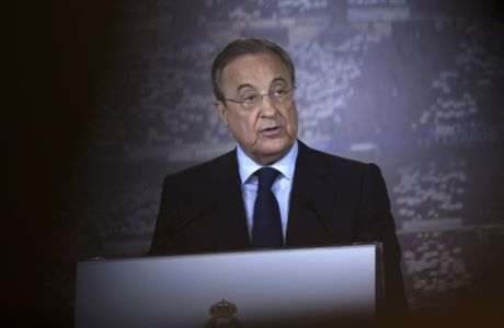 Real Madrid's president Florentino Perez gives a speech during the official announcement of his re-election as the club's new president at the Santiago Bernabeu stadium in Madrid, Monday, June 19, 2017. Florentino Perez was re-elected president as he was the only official candidate. (AP Photo/Francisco Seco)
