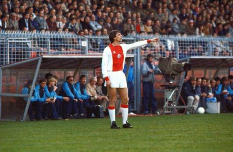 Amsterdam, NETHERLANDS: (FILES) A picture taken 04 April  1982 shows Dutch football star Johan Cruijff giving directions during the match Ajax vs NEC (5-0) in Amsterdam. Johan Cruijff will turn sixty on 25 April 2007. AFP PHOTO - ANP PHOTO COR MULDER ** NETHERLANDS OUT ** (Photo credit should read COR MULDER/AFP/Getty Images)