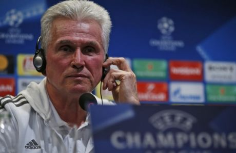 Bayern's coach Jupp Heynckes listens to a reporter's question during a news conference in Istanbul, Tuesday, March 13, 2018, ahead of his team's Champions League round of 16 second leg soccer match against Besiktas Wednesday. (AP Photo/Lefteris Pitarakis)