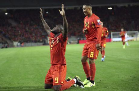 Ο Ρόμελου Λουκάκου του Βελγίου πανηγυρίζει γκολ που σημείωσε στην αναμέτρηση με το Σαν Μαρίνο για τη φάση των προκριματικών ομίλων του Euro 2020 στο 'Κινγκ Μποντουέιν', Βρυξέλλες, Πέμπτη 10 Οκτωβρίου 2019
