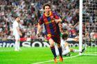 """Ο Μέσι πανηγυρίζει το ένα από τα δυο γκολ που πέτυχε εναντίον της Ρεάλ μέσα στο """"Μπερναμπέου"""" (27/4/2011)"""