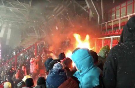 Ανάψαν φωτιά στο γήπεδο, παραλίγο να εξελιχθεί σε πυρκαγιά!