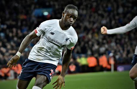 Ο Σαντιό Μανέ της Λίβερπουλ πανηγυρίζει το γκολ που σημείωσε κόντρα στην Άστον Βίλα για την Premier League 2019-2020 στο 'Βίλα Παρκ', Μπέρμιγχαμ, Σάββατο 2 Νοεμβρίου 2019