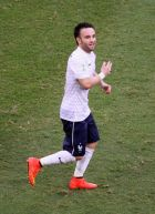 SALVADOR, BRAZIL - JUNE 20:  Mathieu Valbuena of France celebrates scoring his team's third goal during the 2014 FIFA World Cup Brazil Group E match between Switzerland and France at Arena Fonte Nova on June 20, 2014 in Salvador, Brazil.  (Photo by Felipe Oliveira/Getty Images)