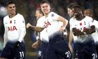 Tottenham Hotspur's Juan Foyth, center, celebrates scoring his side's first goal of the game during their English Premier League soccer match against Crystal Palace at Selhurst Park, London, Saturday, Nov. 10, 2018. (John Walton/PA via AP)