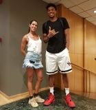 The 24-year-old NBA MVP, Giannis Antetokounmpo, with Aggeliki Katsini, journalist at Contra.gr
