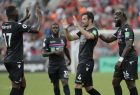 Luka Milivojevic of Crystal Palace FC, second right, celebrates with his teammates after scoring a goal during the third place playoff match against West Bromwich Albion FC at the Premier League Asia Trophy soccer tournament in Hong Kong, Saturday, July 22, 2017. (AP Photo/Kin Cheung)