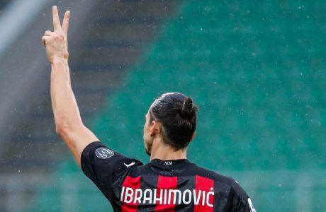 Ο Ζλάταν Ιμπραχίμοβιτς της Μίλαν πανηγυρίζει γκολ που σημείωσε κόντρα στην Κροτόνε για τη Serie A 2020-2021 στο 'Τζιουζέπε Μεάτσα', Μιλάνο | Κυριακή 7 Φεβρουαρίου 2021