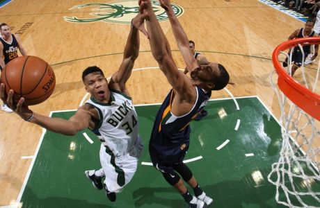 MILWAUKEE, WI - FEBRUARY 24: XX of the Utah Jazz does something against XX of the Milwaukee Bucks during the NBA game on February 24, 2017 at the BMO Harris Bradley Center in Milwaukee, Wisconsin. NOTE TO USER: User expressly acknowledges and agrees that, by downloading and or using this Photograph, user is consenting to the terms and conditions of the Getty Images License Agreement. Mandatory Copyright Notice:  Copyright 2017 NBAE (Photo by Gary Dineen/NBAE via Getty Images)