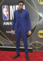 NBA player Giannis Antetokounmpo, of the Milwaukee Bucks, arrives at the NBA Awards on Monday, June 24, 2019, at the Barker Hangar in Santa Monica, Calif. (Photo by Richard Shotwell/Invision/AP)
