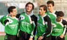 Οι Μαρσέλο, Ζήσης Βρύζας, Παρασκευάς Άντζας, Στέλιος Βενετίδης της Ξάνθης πανηγυρίζουν γκολ σε αναμέτρηση για την Α' Εθνική 1995-1996