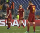 Roma's Kostas Manolas makes the sign of the cross after scoring his side's third goal during the Champions League quarterfinal second leg soccer match between between Roma and FC Barcelona, at Rome's Olympic Stadium, Tuesday, April 10, 2018. (AP Photo/Gregorio Borgia)