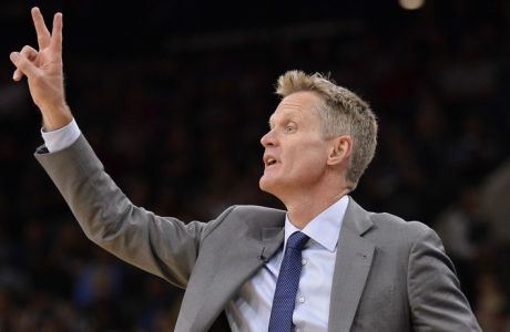 Golden State Warriors head coach Steve Kerr yells to his players during the first half of an NBA basketball game against the San Antonio Spurs, Saturday, March 11, 2017, in San Antonio. (AP Photo/Darren Abate)