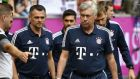 Bayern head coach Carlo Ancelotti, right, arrives prior the Telekom Cup soccer match between Bayern Munich and TSG 1899 Hoffenheim at the Borussia Park in Moenchengladbach, Saturday, July 15, 2017. (AP Photo/Martin Meissner)