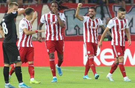 Ο Μιγκέλ Άνχελ Γκερέρο πανηγυρίζει το γκολ που πέτυχε κόντρα στην Κράσνονταρ για τα playoffs του Champions League 2019-2020. KOSTAS VILLA / EUROKINISSI