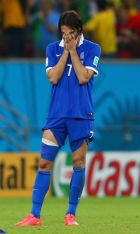 RECIFE, BRAZIL - JUNE 29: Giorgos Samaras of Greece reacts after being defeated by Costa Rica in a penalty shootout during the 2014 FIFA World Cup Brazil Round of 16 match between Costa Rica and Greece at Arena Pernambuco on June 29, 2014 in Recife, Brazil.  (Photo by Quinn Rooney/Getty Images)