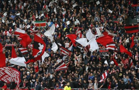 Ajax fans cheer for their team during the first leg semi final soccer match between Ajax and Olympique Lyon in the Amsterdam ArenA stadium, Netherlands, Wednesday, May 3, 2017. (AP Photo/Peter Dejong)