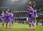 Real Madrid's Cristiano Ronaldo celebrates with Real Madrid's Sergio Ramos, top, after scoring the opening goal during the Champions League final soccer match between Juventus and Real Madrid at the Millennium stadium in Cardiff, Wales Saturday June 3, 2017. (AP Photo/Frank Augstein)