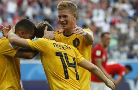 Belgium's Eden Hazard, left, celebrates with teammates after scoring his side's second goal during the third place match between England and Belgium at the 2018 soccer World Cup in the St. Petersburg Stadium in St. Petersburg, Russia, Saturday, July 14, 2018. (AP Photo/Petr David Josek)