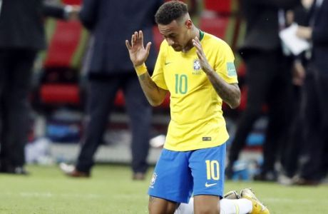 Brazil's Neymar reacts as his team loose the quarterfinal match between Brazil and Belgium at the 2018 soccer World Cup in the Kazan Arena, in Kazan, Russia, Friday, July 6, 2018. (AP Photo/Frank Augstein)