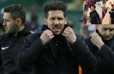 Atletico coach Diego Simeone arrives prior to the start of the Europa League quarterfinal second leg soccer match between Sporting CP and Atletico Madrid at the Alvalade stadium in Lisbon, Thursday, April 12, 2018. (AP Photo/Armando Franca)