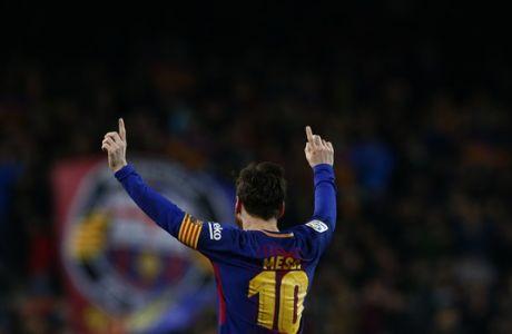 FC Barcelona's Lionel Messi celebrates after scoring during the Spanish La Liga soccer match between FC Barcelona and Girona at the Camp Nou stadium in Barcelona, Spain, Saturday, Feb. 24, 2018. (AP Photo/Manu Fernandez)