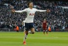 Tottenham's Dele Alli celebrates after scoring his side's third goal during the English Premier League soccer match between Tottenham Hotspur and Liverpool at Wembley Stadium in London, Sunday, Oct. 22, 2017.(AP Photo/Frank Augstein)