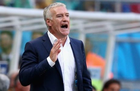 SALVADOR, BRAZIL - JUNE 20:  Head coach Didier Deschamps of France gestures during the 2014 FIFA World Cup Brazil Group E match between Switzerland and France at Arena Fonte Nova on June 20, 2014 in Salvador, Brazil.  (Photo by Adam Pretty/Getty Images)