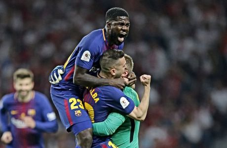 O Σαμουέλ Ουτμιτί, την εποχή που ήταν ευτυχισμένος στη Βαρκελώνη -στον τελικό του Copa del Rey του 2018.