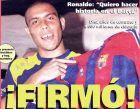 """Το πρωτοσέλιδο της καταλανικής Mundo Deportivo με κεντρικό τίτλο """"Υπέγραψε!"""" (18/7/1996)."""