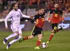 Belgium's Dries Mertens, center, is chased down by Greece's Kostas Fortounis, left, during the Euro 2018 Group H qualifying match between Belgium and Greece at the King Baudouin stadium in Brussels on Saturday, March 25, 2017. (AP Photo/Geert Vanden Wijngaert)