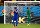 RECIFE, BRAZIL - JUNE 29: Theofanis Gekas of Greece reacts after his penalty being saved by Keylor Navas of Costa Rica in a penalty shootout during the 2014 FIFA World Cup Brazil Round of 16 match between Costa Rica and Greece at Arena Pernambuco on June 29, 2014 in Recife, Brazil.  (Photo by Alex Grimm - FIFA/FIFA via Getty Images)