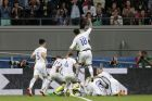 Chile players celebrate after winning the Confederations Cup, semifinal soccer match between Portugal and Chile, at the Kazan Arena, Russia, Wednesday, June 28, 2017. (AP Photo/Ivan Sekretarev)