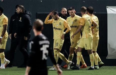 Οι παίκτες του Άρη πανηγυρίζουν γκολ κατά του ΟΦΗ για τη Super League Interwetten 2020-2021 στο 'Θεόδωρος Βαρδινογιάννης'   Σάββατο 19 Δεκεμβρίου 2020