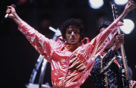 FILE - In this 1984 file picture, Michael Jackson poses on stage during the Jacksons' Victory Tour. Michael Jackson has died in Los Angeles at the age of 50 on Thursday, June 25, 2009. (AP Photo)