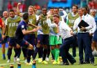 SALVADOR, BRAZIL - JUNE 13:  Robin van Persie of the Netherlands (C-L) celebrates with coach Louis van Gaal of the Netherlands (C-R) and team-mates after scoring a goal during the 2014 FIFA World Cup Brazil Group B match between Spain and Netherlands at Arena Fonte Nova on June 13, 2014 in Salvador, Brazil.  (Photo by Ryan Pierse - FIFA/FIFA via Getty Images)