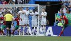 Morocco's Hakim Ziyach shoots a free kick during the group B match between Portugal and Morocco at the 2018 soccer World Cup in the Luzhniki Stadium in Moscow, Russia, Wednesday, June 20, 2018. (AP Photo/Hassan Ammar)